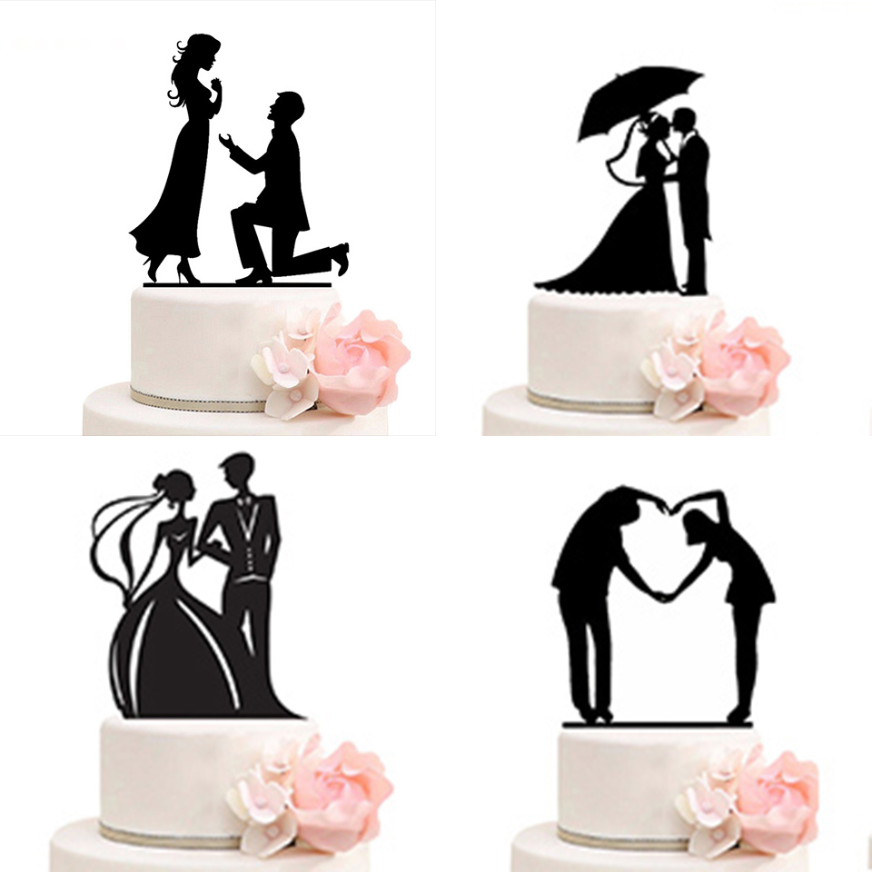 Tronzo Wedding Cake Topper Bride Groom Mr Mrs Wedding Decorations Acrylic Black Cake Toppers Mariage Party