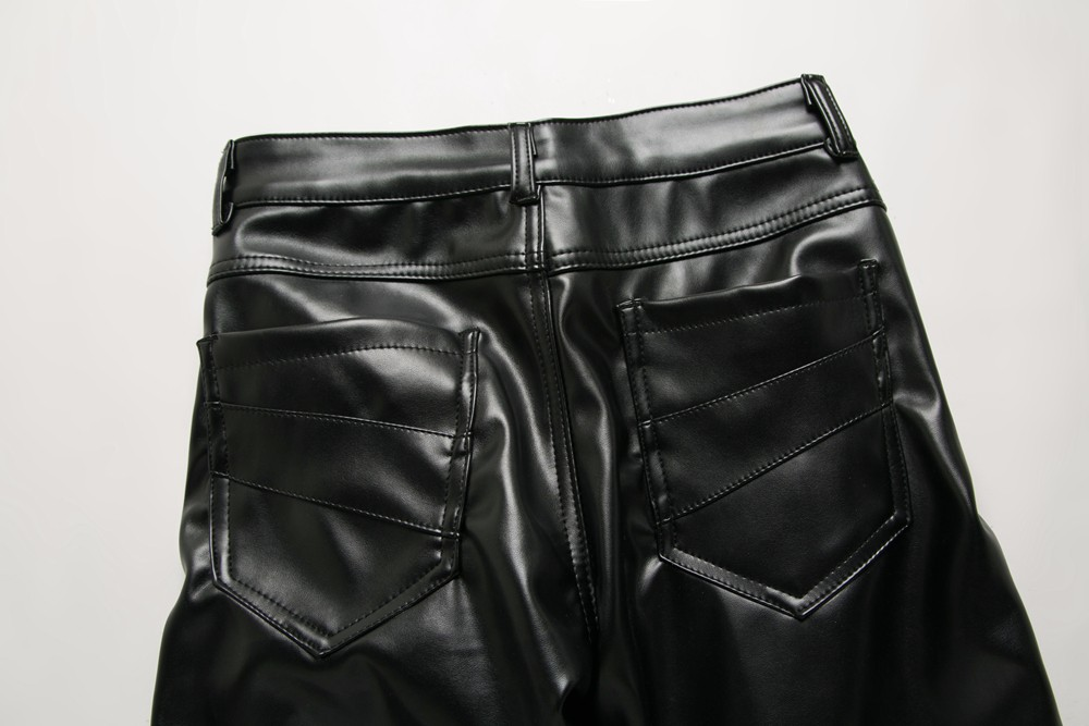 New Arrived Personality Male Leather Pants Male Slim Leather Pants Men's Clothing PU Pants Male