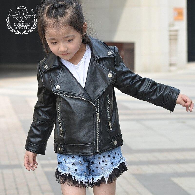 Fashion Spring Casual Girls Jacket Long Sleeve Genuine Leather Zipper Pocket Three Colours Girl Jackets Loose Fit Punk Kids Coat arm zipper pocket design patched jacket