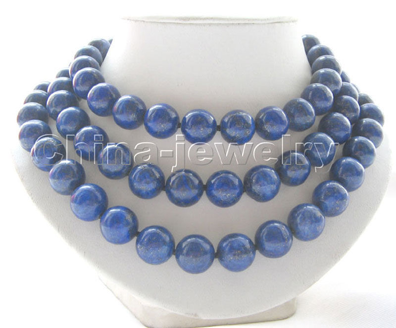 P3588 - AAA 14mm 50 100% natural round lapis lazuli necklace - GP claspP3588 - AAA 14mm 50 100% natural round lapis lazuli necklace - GP clasp
