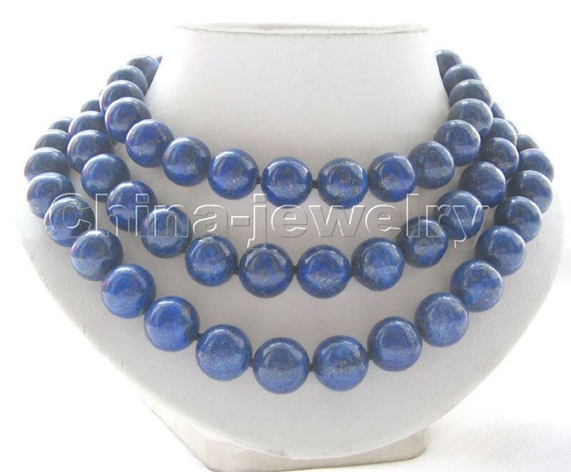 P3588-collier lapis lazuli rond naturel AAA 14mm 50