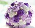 2017 Cheap Wedding/Bridesmaid Bouquets Purple and White Bridal Handmade Artificial Rose Bouquet de mariage ramo de la boda