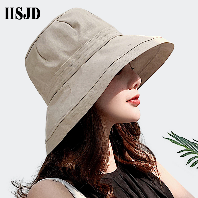 2019 New French Cloth Wide Brim Sun Fisherman Hats Summer Female Hat Outdoor Travel Foldable Solid Bucket Hat Anti-UV Beach Hat