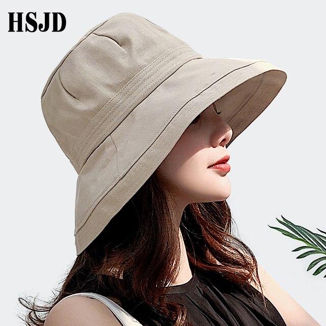 2019 جديد الفرنسية القماش واسعة حافة الشمس صياد القبعات الصيف الإناث قبعة في الهواء الطلق السفر طوي الصلبة قبعة بحافة مكافحة الأشعة فوق البنفسجية قبعة للشاطئ