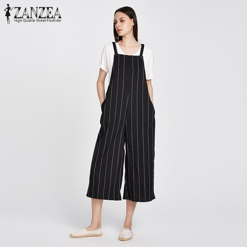 ZANZEA Fashion 2018 New Spring Summer Women Striped Pockets Sleeveless Dungarees Jumpsuit Cotton Linen Loose Pants Rompers M-5XL