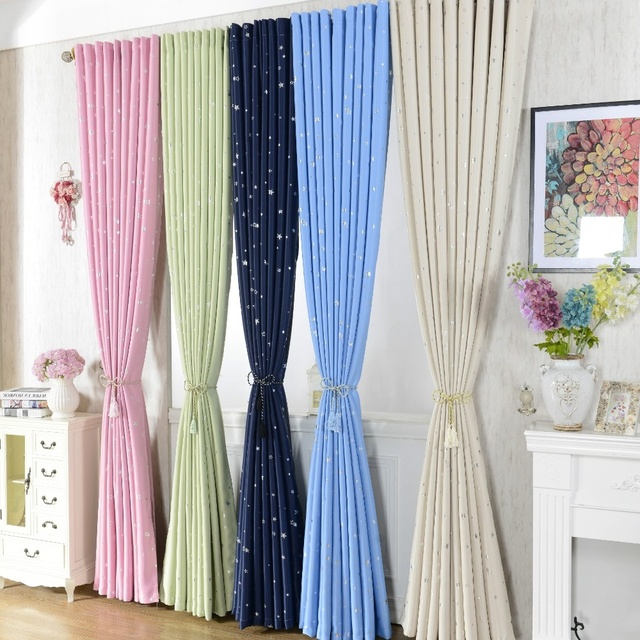 Classic Stars Curtains Printing Navy Blue Pink Green Beige Blackout For Window Living