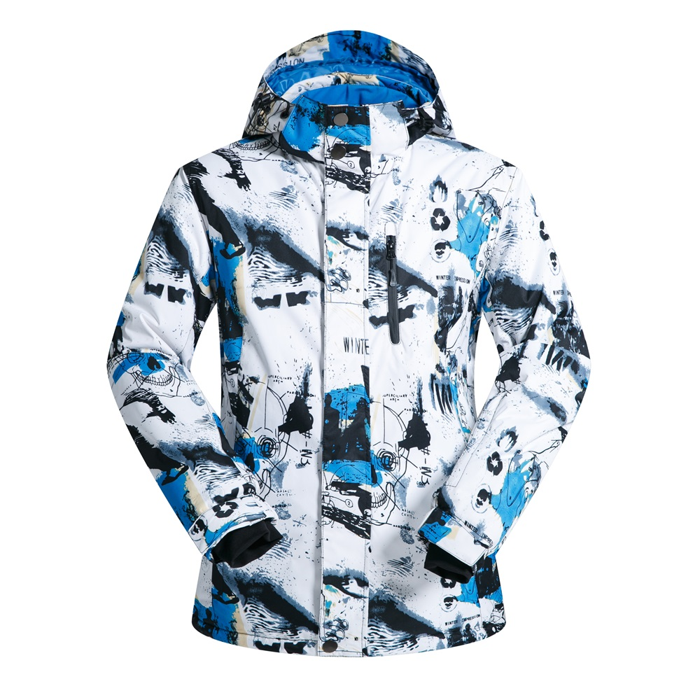 Print snowboard jacket male waterproof windproof snow jackets men winter thicken cotton skiing coats man outdoor ski clothes men geo print jacket
