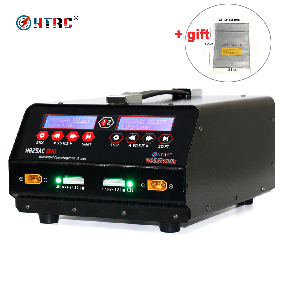HTRC H825AC DUO 1200W 25A Dual Port 1-8s Lipo/Lihv Battery Balance Charger for agricultural spraying Drone Plant Protection UAV hba card for 07t5gy 0kkywj 825 br825 dual port well tested working