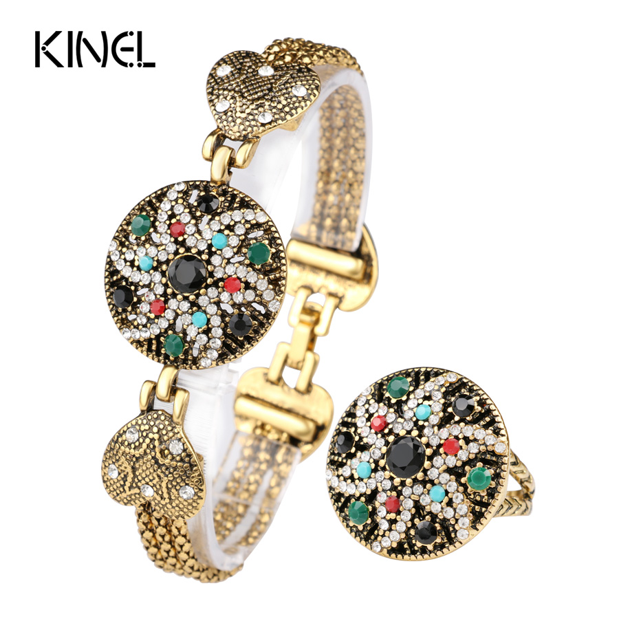 Vintage Look Indian Starfish Bracelet Ring For Women White Crystal Colorful Resin Gold Color Turkey Jewelry Set 2016 Fashion