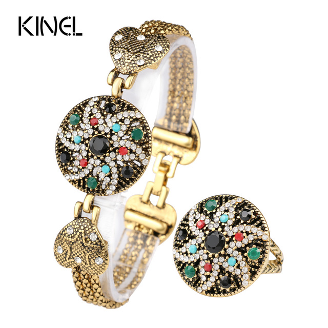Vintage Look Indian Starfish Bracelet Ring For Women White  Crystal Colorful Resin Gold Plated Turkey Jewelry Set 2016 Fashion