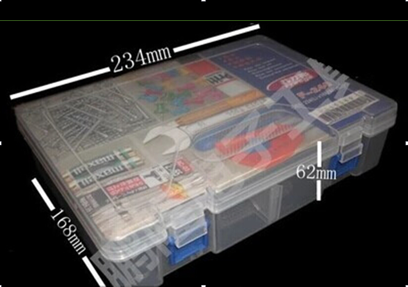 Plastic box for arduino kit / Two Layer Storage Box/Organizer, size 234*168*62mm