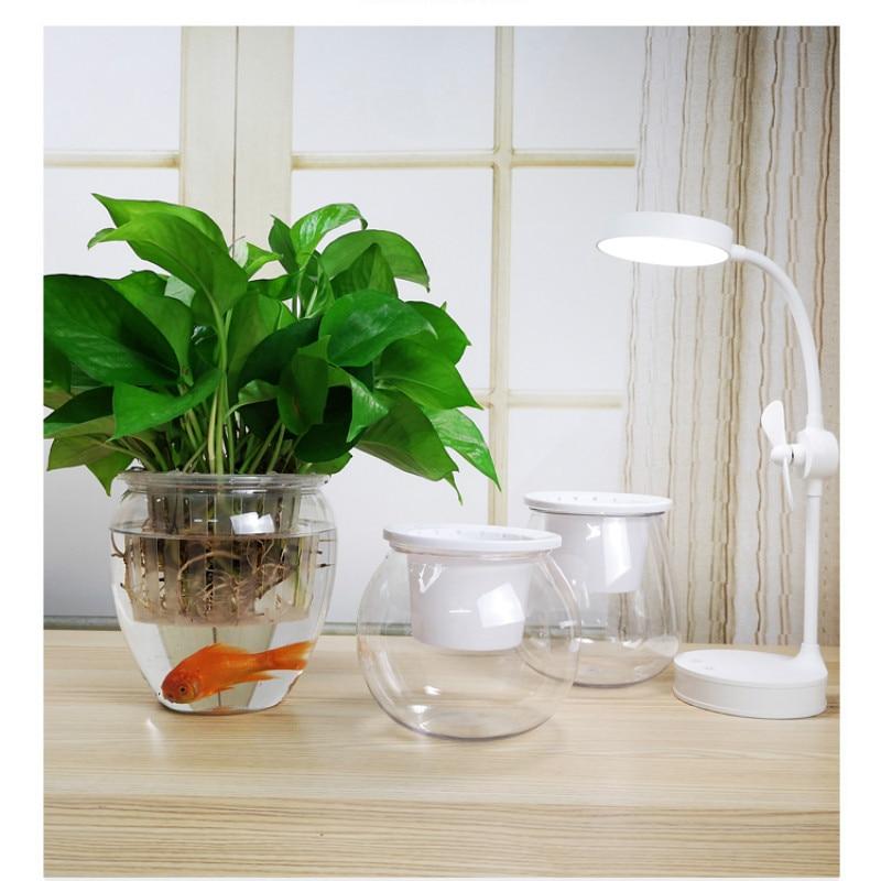 Imitation Glass Double Layers Transparent Self-Watering Flowerpot Planter Pots For Flowers Potted Plant Desktop Decor