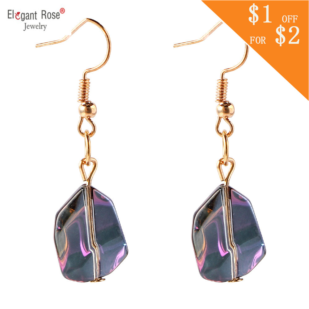 New Statement Irregular Shape Colorful Fashion Women Created Crystal Dangle Earrings Imitation Stone Charms Wholesale Jewelry