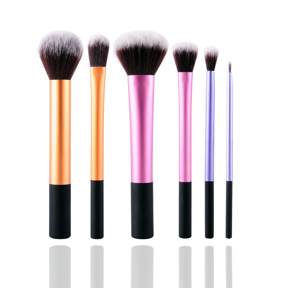 6 Pcs Foundation Makeup Brushes set Metal Tube Professional Cosmetic Tool Kit Powder Eyeliner Make Up Brush 50sets/lot (OS0706) 24pcs makeup brushes set cosmetic make up tools set fan foundation powder brush eyeliner brushes leather case with pink puff