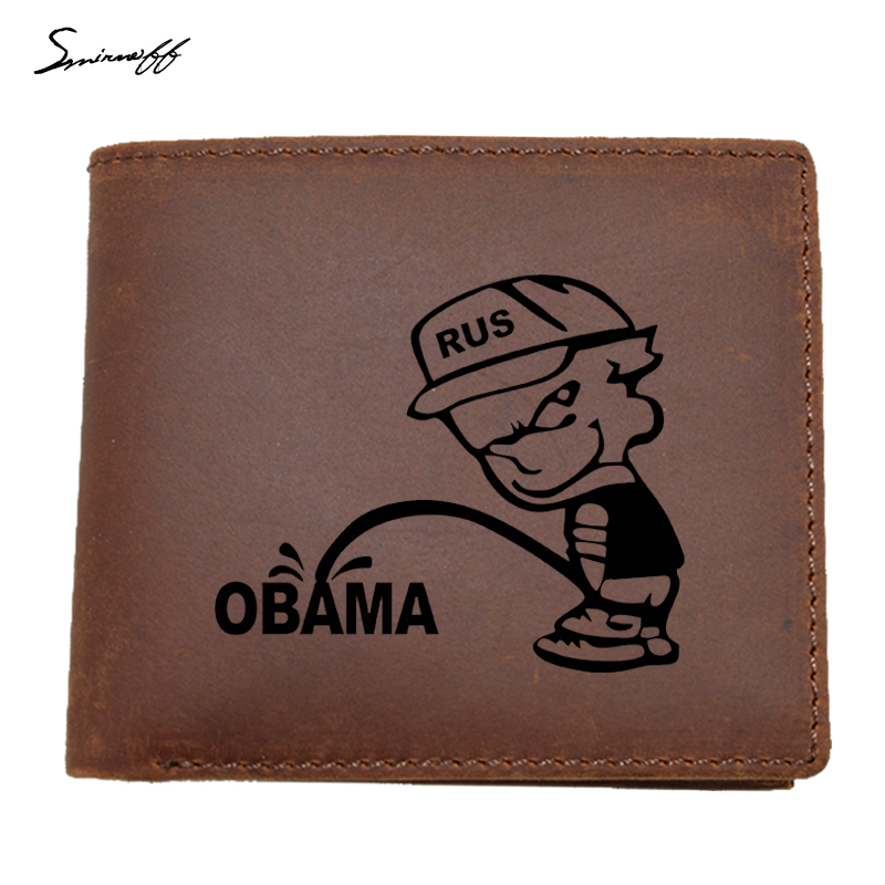 100% Top Quality Cow Genuine Leather Men Wallets Dollar Price Interesting Russian Bad Bo ...
