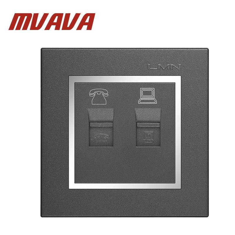 MVAVA Chromé Téléphone Et Ordinateur Socket Prise Murale TEL & PC Sortie Gris Couleur Ignifuge PC Matériel Panneau Livraison Gratuite
