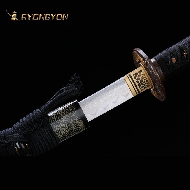 Handmade Katana Real Sword Sharp Samurai Sword Japan Ninja Sword Damascus Steel Full Tang Clay Tempered Hand Lapping Blade A701 1
