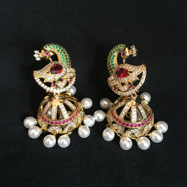India bollywood jhumka earrings artificial pearls golden plated india bollywood jhumka earrings artificial pearls golden plated peacock jhumki chandelier earrings india bride mozeypictures Image collections