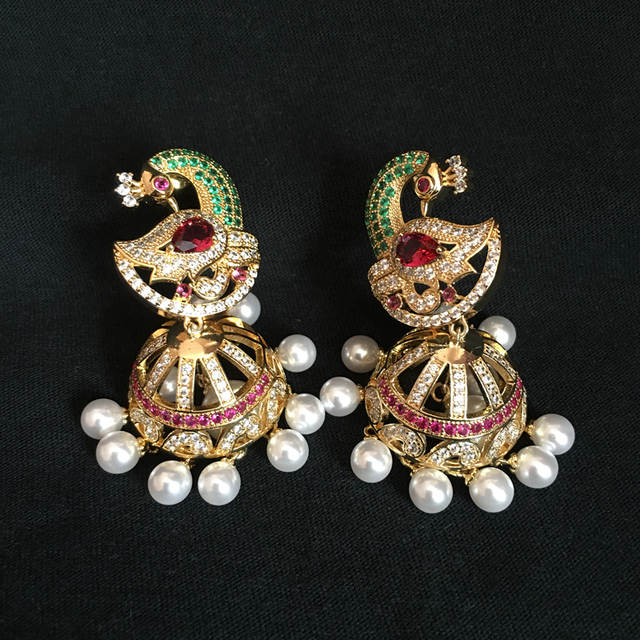 Online Shop India Bollywood Jhumka Earrings Artificial Pearls