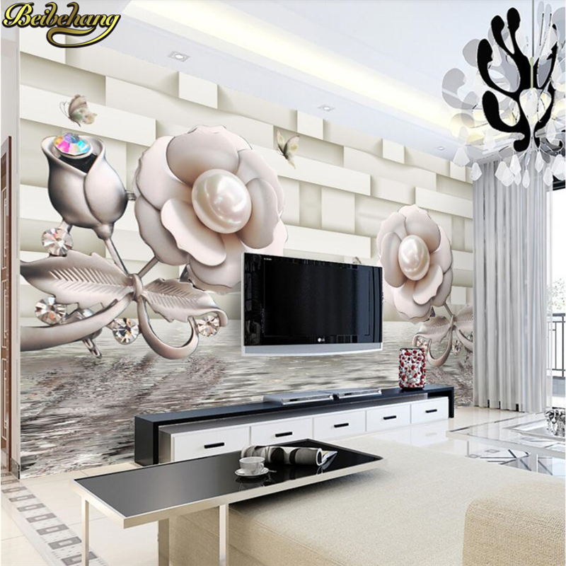 beibehang papel de parede 3D Rose flower wallpaper for walls 3 d photo murals wall paper living room bedroom sofa TV background beibehang beautiful rose sea living room 3d flooring tiles papel de parede para quarto photo wall mural wallpaper roll walls 3d
