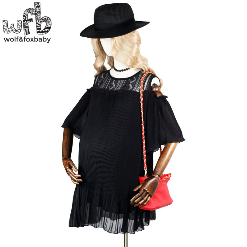 Retail Pregnant women Large size dress lace solid color short-sleeve o-neck Slim Fit Strapless casual dress summer