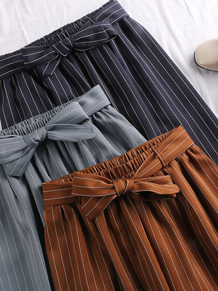 Women Summer Beach Striped Lady Wide Leg   Pants   High Waist Trousers Chic Streetwear Belt Sash Casual   Pants     Capris   Female