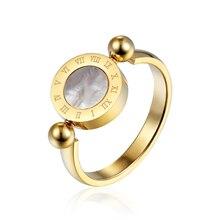 El diseño clásico Se puede rotar el esmalte y el número romano de la cáscara hermoso anillo de la mujer de acero inoxidable anillo de la marca de la joyería para las mujeres