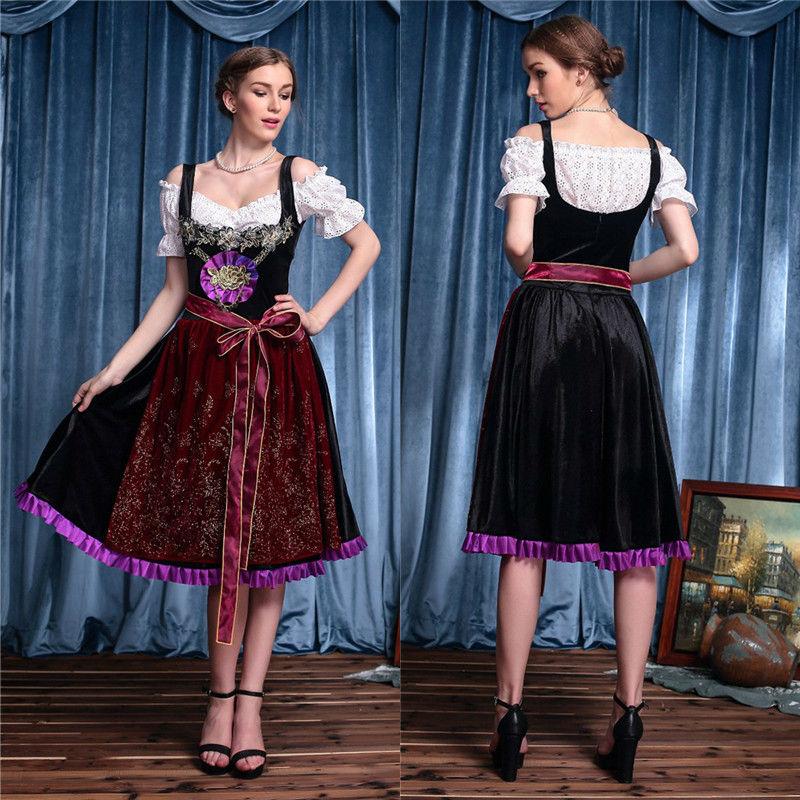 Vocole M XL Women German Bavarian Oktoberfest Costume Top Dress Set Beer Maid Carnival Party Fancy Dress
