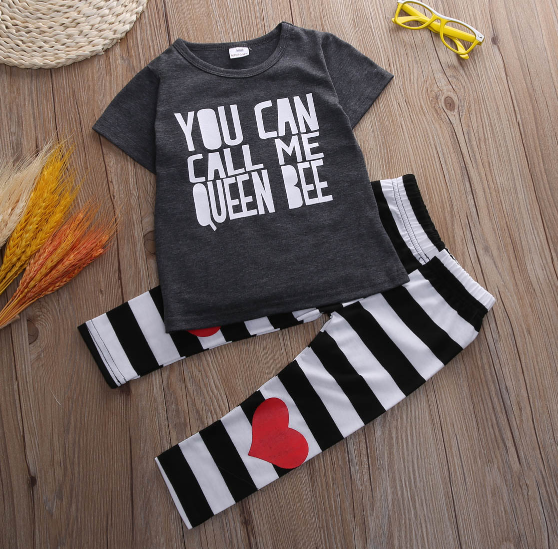 Baby boy Girl clothes set Toddler Kids Baby Girls Print Outfit Clothes T-shirt Tops+Long Strip Pants 2pcs children clothes set new 2017 aint a woman alive that could take my mama s place black baby girl boy kids minions clothes t shirt tops blusas mujer
