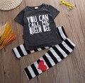 Bebê Da Menina do menino roupas set Criança Do Bebê Dos Miúdos Meninas Roupa de Impressão T-shirt Roupas Tops + Calças Longa Faixa 2 pcs crianças roupas definir