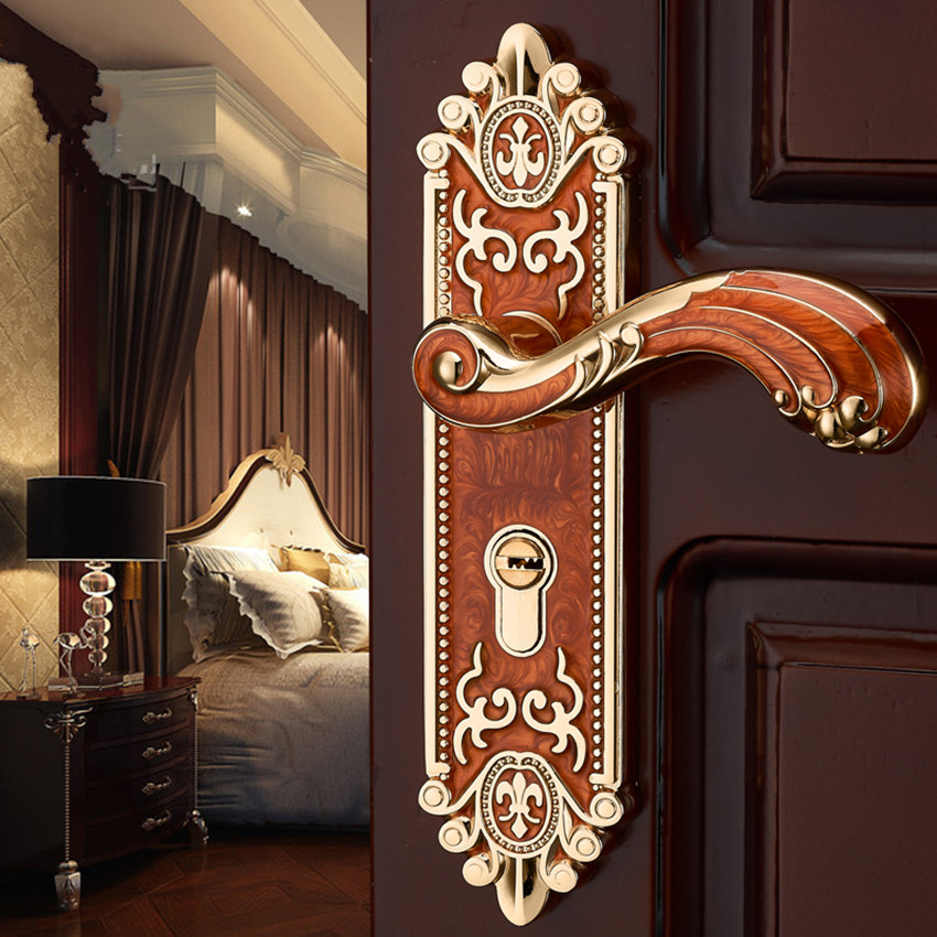European interior door lock bedroom handle door lock room solid wood home mute black door lock amber red / white lock european style retro quiet mechanical interior door lock ivory white bedroom study kitchen bathroom solid wood door lock handle