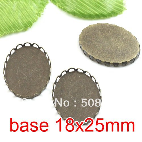 Free shipping!!! 200pcs oval silk bronze Picture Frame charms Pendants 18x25mm,Cameo Cab ...