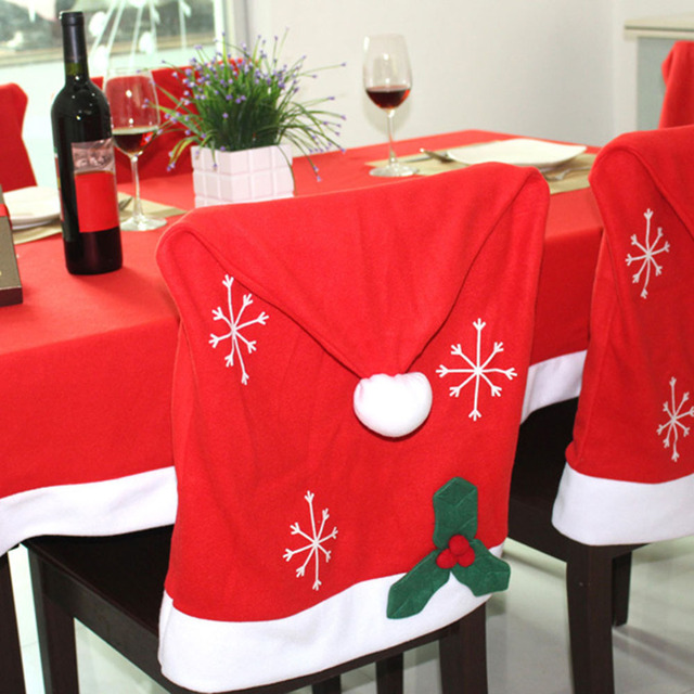 High Quality Flannel Christmas Chair Cover Santa Claus Decoration Xmas New Year Hat Home Party