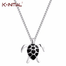Kinitial Women Black Turtles Necklace New Fashion Animal 925 Sterling Silver Filled Necklaces Pendants Wedding Jewelry Gift