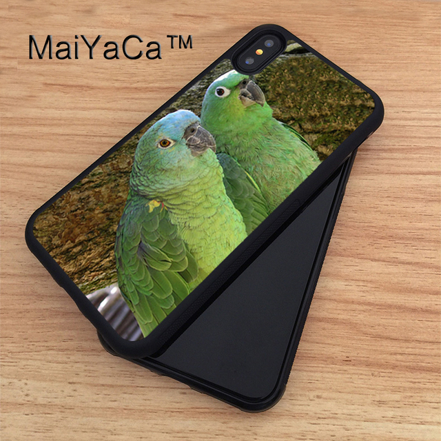 competitive price 30475 ba1bb MaiYaCa PRETTY GREEN PARROTS Printed TPU Case For iphone X Full Protective  Cover For Apple iphone X Phone Cases-in Fitted Cases from Cellphones & ...