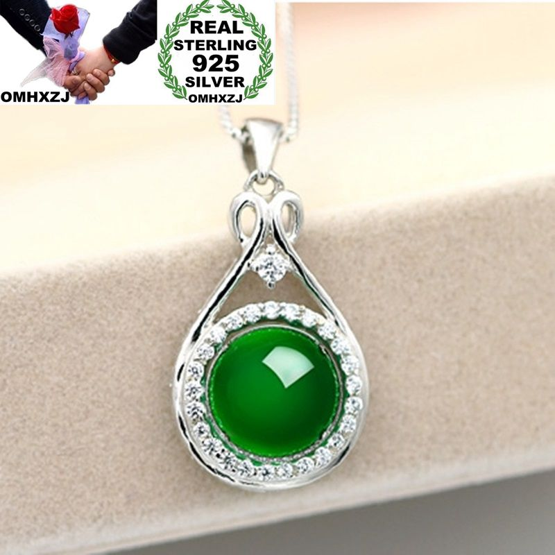 OMHXZJ Wholesale European Fashion Woman Girl Party Gift Round Chalcedony Zircon 925 Sterling Silver Necklace Pendant Charm CA46