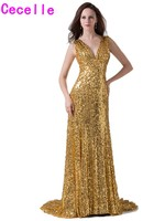 2017 Real Modern Sparkle Gold Sequins Long Evening Dresses Gowns With Straps For Women V Neck