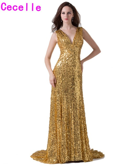 262aa3b0 2019 Real Modern Sparkle Gold Sequins Long Evening Dresses Gowns With  Straps For Women V Neck Sleeveless Elegant Simple Gowns