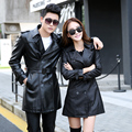 2017 New Lovers design Spring autumn medium-long leather clothing slim leather trench leather coat
