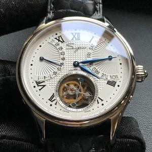 Image 2 - יוקרה ST8004 Tourbillon שעון גברים תנין עור לוח שנה תצוגת שבוע Mens יד Winding מכאני שעונים 5ATM עמיד למים