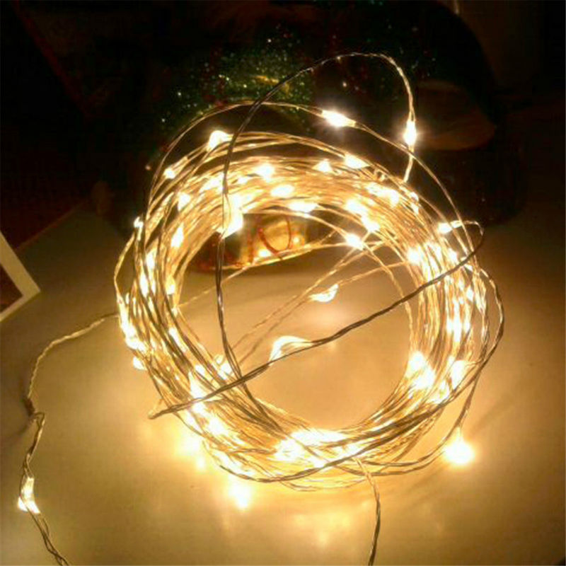 10M 33ft 100LED 3AA Battery Powered LED Copper Wire String Lights For Christmas Festival Wedding Party Decoration