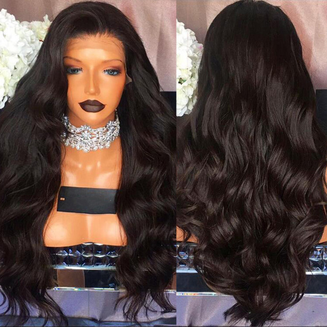 Body Wave Brazilian Virgin Hair Density 180% Lace Front Wig Thick Human Hair  Full Density Glueless Full Lace Wigs Bleached Knots ec895d3a73a4