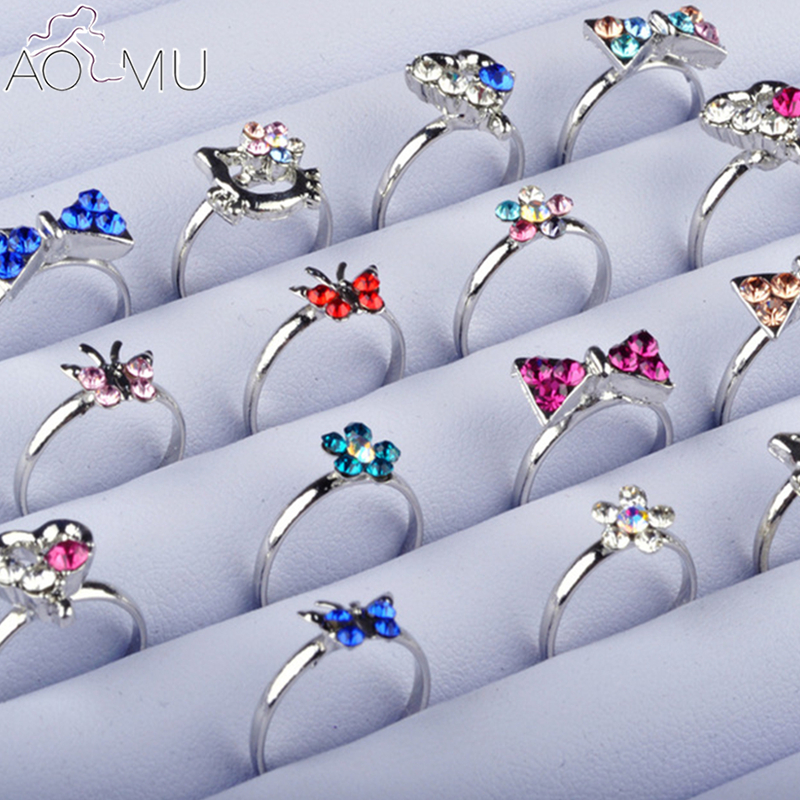 AOMU Wholesale 10pcs Cartoon Cat Flower Jewelry Lots Mixed Lovely Girls Boys Princess Crystal Rhinestone Kids Children's Rings