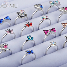 AOMU Wholesale 10pcs Cartoon Cat Flower Jewelry Lots Mixed Lovely Girls boys Princess Crystal Rhinestone Kids Children's Rings