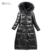 Real Leather Jackets Women Winter Genuine Leather Coat 2018 New Natural Fur Sheepskin White Duck Down Outerwear Female OK1158