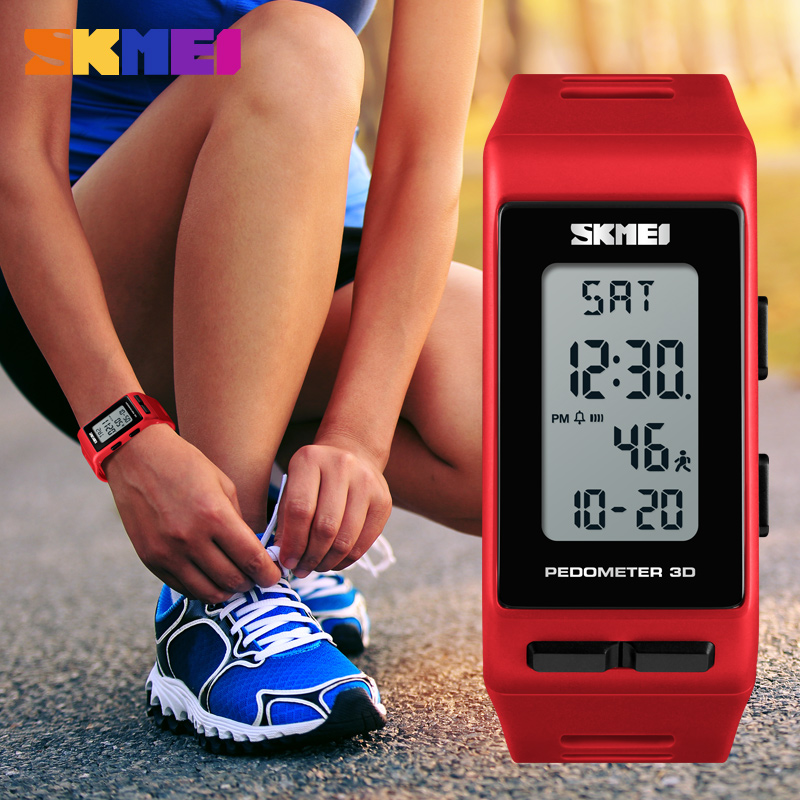 SKMEI Brand LED Women Watches Pedometer Calories Digital Watch Ladies Outdoor Running Electronic Watch Women Sports Watches