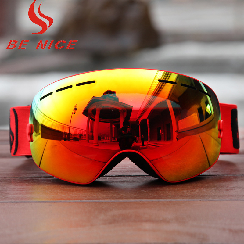 Benice 3100 adult outdoor snow spectacles SKI GOGGLES ANTI FOG atomization and UV400 breathable soft super vision. ...