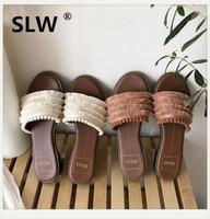 women Butterfly knot Fabric Flat allmatch summer Slides Square heel Fringe Concise Low Elegant slipper woman tassel sandals