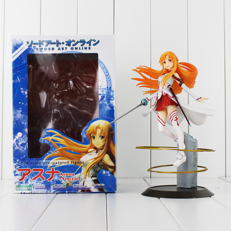 9''23cm Anime Sword Art Online Figure SAO Asuna PVC Model 1/8 Scale Pre-painted Figure Toy Cute Asuna for Collection