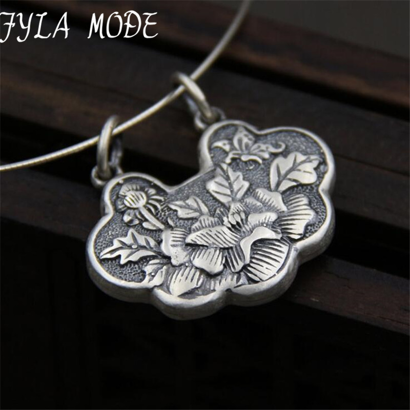 Beautiful 100% 999 Pure Silver Carved Flower Lock Lucky Amulet NecklacePendant Fine Silver Pendant Wholesales 35*29MM TYC262Beautiful 100% 999 Pure Silver Carved Flower Lock Lucky Amulet NecklacePendant Fine Silver Pendant Wholesales 35*29MM TYC262